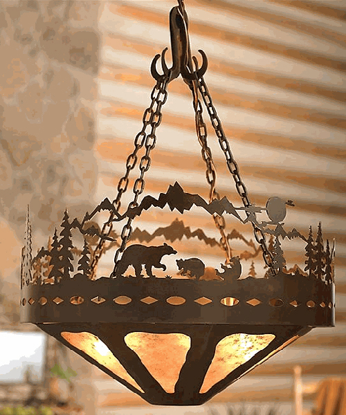 Log cabin chandelier rustic bear lighting Log cabin chandelier