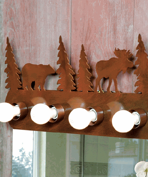 Rustic vanity lighting for Rustic bear home decor