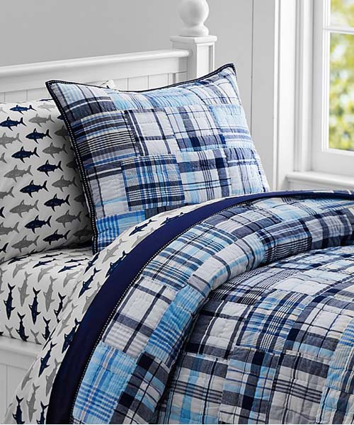 Boys Quilt Set Madras Plaid Quilt Bedding