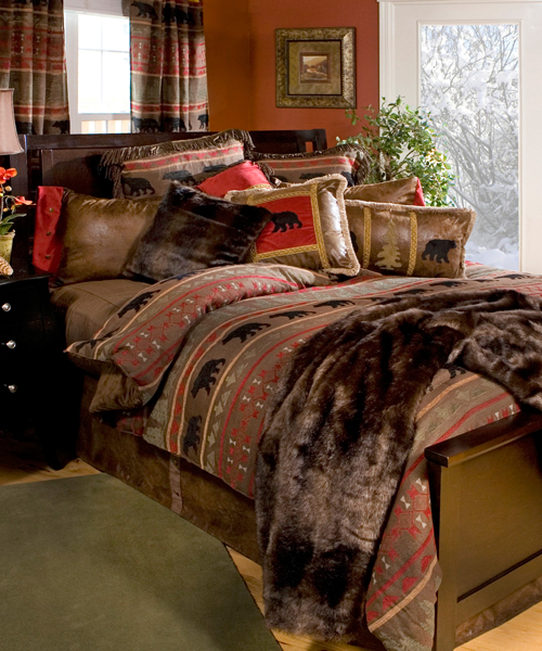 Small Bedroom Chandeliers Bedroom Wall Colour Images Bedroom Ideas With Chandeliers Log Cabin Bedroom Decor: Bear Wilderness Bedding Rustic Chenille Collection