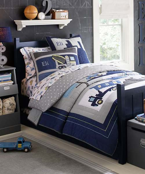 Boys Construction Sheets : Kids construction quilt bedding