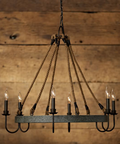 Wine Barrel Hoop Chandelier Wrought Iron Lighting