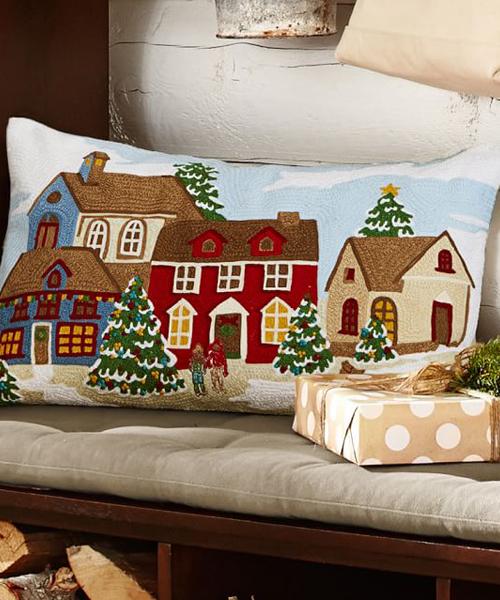 Winter Village Christmas Pillow