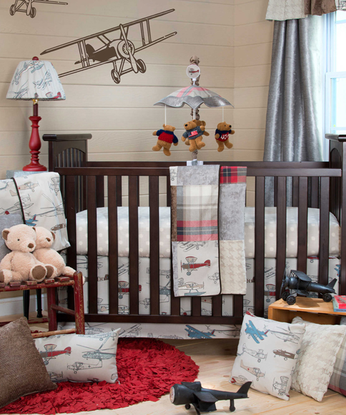 Airplane baby bedding glenna jean airplane crib set for Baby boy bedroom furniture