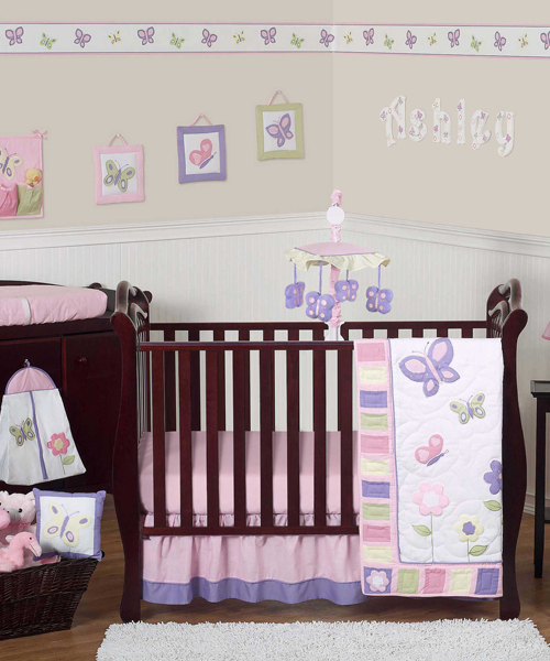 Christmas baby bedding santa clause crib set for Baby girl butterfly bedroom ideas