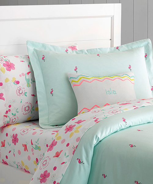 Oxford Flamingo Embroidered Girls Duvet Cover