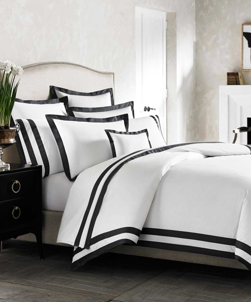 Kassatex Luxury Black and White Duvet Cover