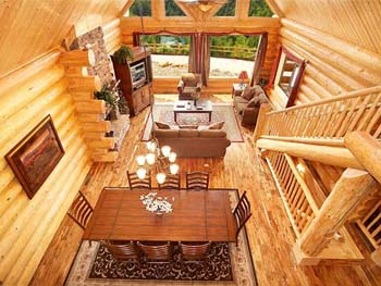 View of Interior of Log Cabin Home