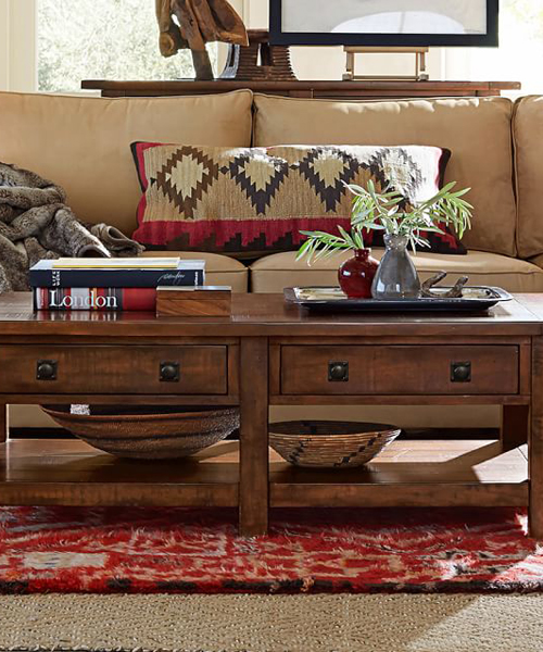 Benchwright coffee table for Log cabin furniture canada