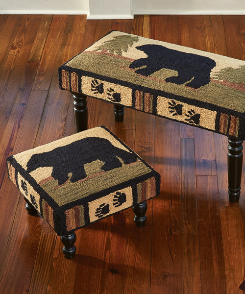 Black Bear Rustic Footstool