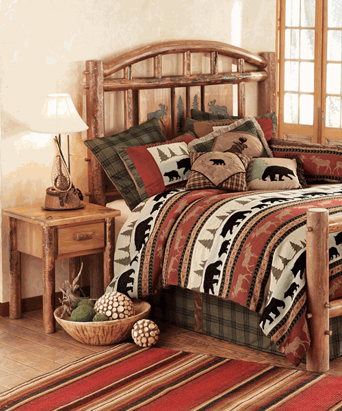 Cabin bedrooms canadian log homes for Log cabin furniture canada
