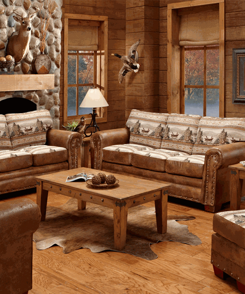 Lodge sofas american furniture clics sierra lodge sleeper for Log cabin furniture canada