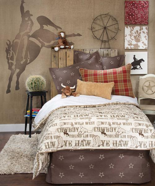 Cowboy bedding western bedrooms for Boys country bedroom ideas