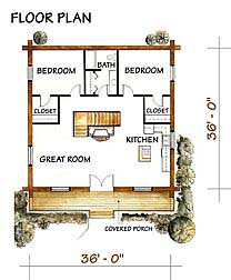 Cabin Floor Plan Canadian Log Homes Unit 2a 2 Bedroom